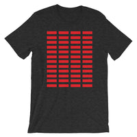 Red Grid Bars Unisex T-Shirt Abyssinian Kiosk Rectangle Bars Spaced Evenly Grid Pattern Fashion Cotton Apparel Clothing Bella Canvas Original Art