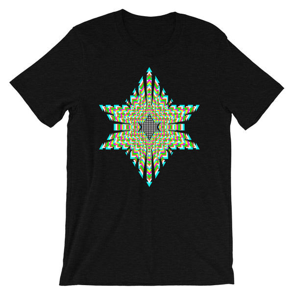 White Boxes Psychedelic Star of David Unisex T-Shirt Trip Trippy Colorful Abyssinian Kiosk Rectangles Ethiopia Jewish Falasha Bella Canvas Original Art Fashion Cotton Apparel Clothing