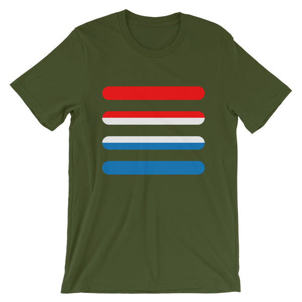 Red White Blue Bars Unisex T-Shirt Abyssinian Kiosk America Fashion Cotton Apparel Clothing Bella Canvas Original Art