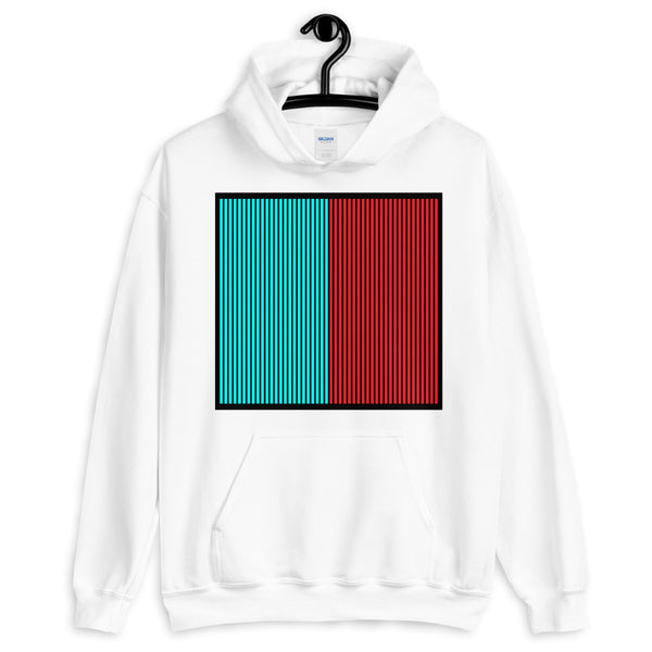 Black Back Cyan Red Lines Unisex Hoodie Square Abyssinian Kiosk Fashion Cotton Apparel Clothing Gildan Original Art