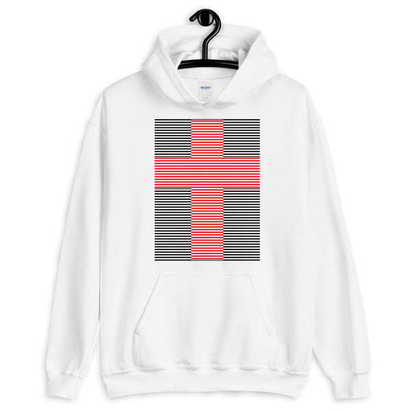 Red Cross Black Lines Unisex Hoodie Abyssinian Kiosk Christian Jesus Religion Lined Latin Cross Gildan Original Art Fashion Cotton Apparel Clothing