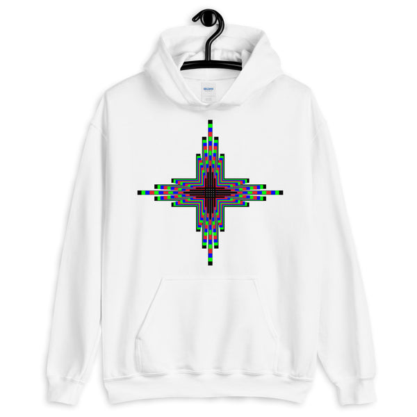 Psychedelic Zia Sun Cross Unisex Hoodie Abyssinian Kiosk Trip Trippy Colorful Gildan Original Art Fashion Cotton Apparel Clothing