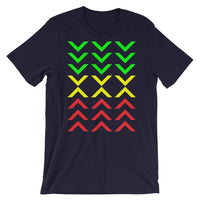 Arrows Down Up GYR Unisex T-Shirt Abyssinian Kiosk Green Yellow Red EthiopianFashion Cotton Apparel Clothing Bella Canvas Original Art