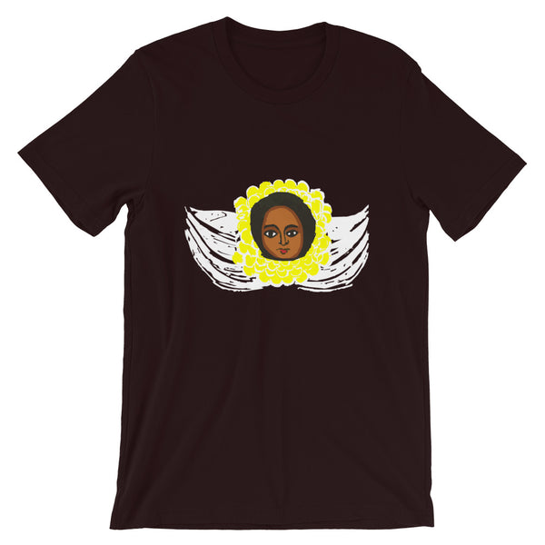 Yellow White Angel Unisex T-Shirt Traditional Ethiopian with Feathers and Wings Abyssinian Kiosk Ethiopian Bella Canvas Bella Canvas Original Art Fashion Cotton Apparel Clothing