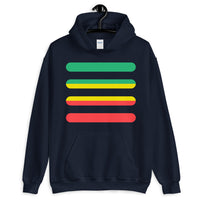 Green to Yellow to Red Bars Unisex Hoodie Abyssinian Kiosk Ethiopia Fashion Cotton Apparel Clothing Gildan Original Art
