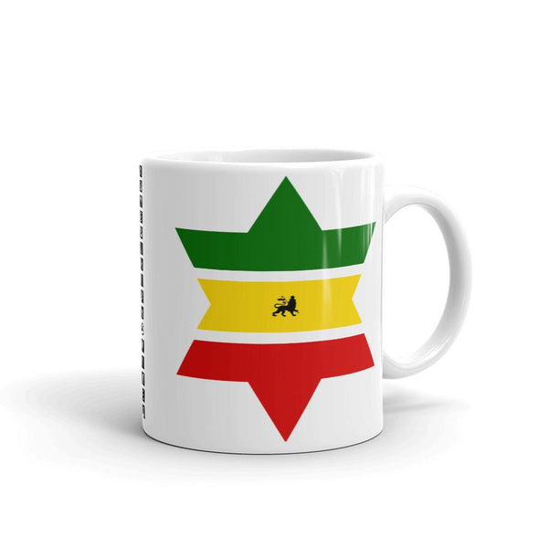 Green, Yellow, Red Star of David Coffee Mug Abyssinian Kiosk Abyssinia Ethiopia Flag Rasta Lion of Judah