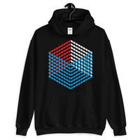 Red White Blue Cube Illusion Unisex Hoodie America USA Abyssinian Kiosk 3D Bars Polygon Fashion Cotton Apparel Clothing Gildan Original Art