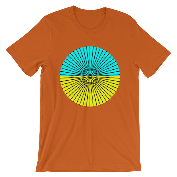 Black Cube Spokes Cyan Top Yellow Bottom Unisex T-Shirt Abyssinian Kiosk Squares Bicycle Spokes Dual Color Circle Fashion Cotton Apparel Clothing Bella Canvas Original Art