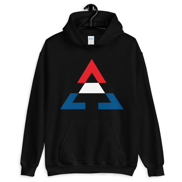 Pyramid RWB Unisex Hoodie Gildan Original Art Abyssinian Kiosk Fashion Cotton Apparel Clothing Triangle RWB Red White Blue America American Flag