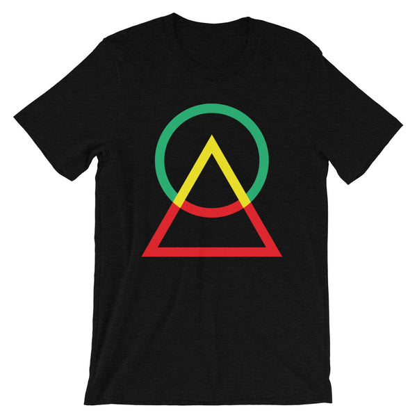 Green Yellow Red Circle Triangle Unisex T-Shirt Abyssinian Kiosk Harmonious Meeting Fashion Cotton Apparel Clothing Bella Canvas Original Art