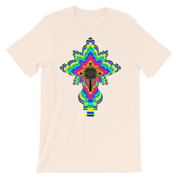 Psychedelic Black #10 Cross Unisex T-Shirt Trip Trippy Colorful Ethiopian Coptic Orthodox Abyssinian Kiosk Christian Bella Canvas Original Art Abyssinian Kiosk Fashion Cotton Apparel Clothing