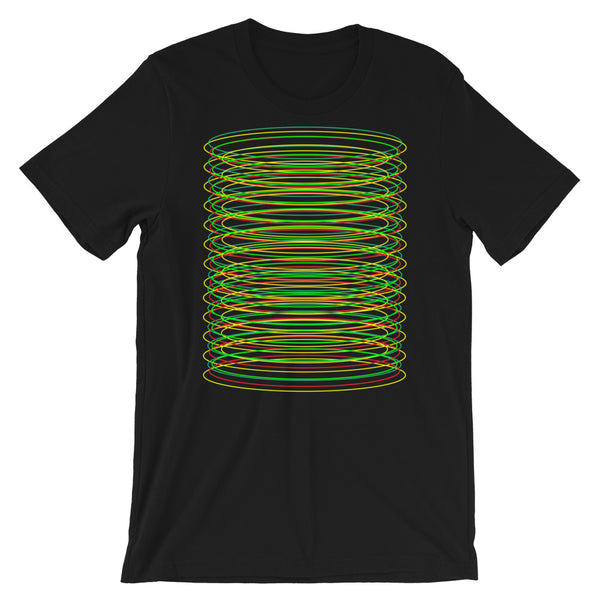 Green Yellow Red Ellipse Unisex T-Shirt Abyssinian Kiosk Contained Chaos of Hovering Ellipses Fashion Cotton Apparel Clothing Bella Canvas Original Art