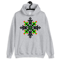 Black, Lime and Red Cross Unisex Hoodie Ethiopian Coptic Orthodox Abyssinian Kiosk Christian Apparel Gildan Clothing