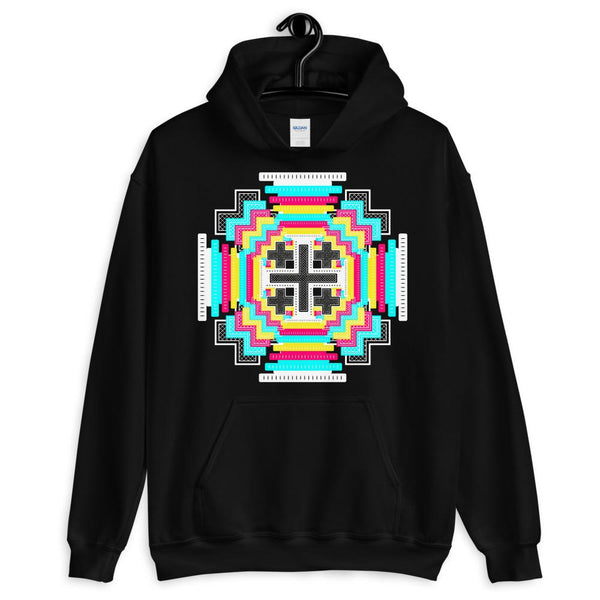 Psychedelic #12 Cross White Unisex Hoodie Abyssinian Kiosk Equal-Armed Cross Ethiopian Jesus Christian Trip Trippy Colorful Gildan Original Art Fashion Cotton Apparel Clothing