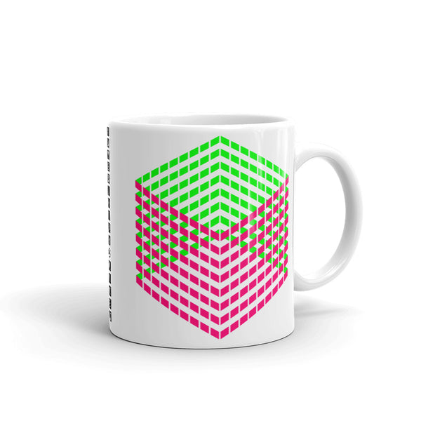 Pink Green Cube Illusion Kaffa Mug