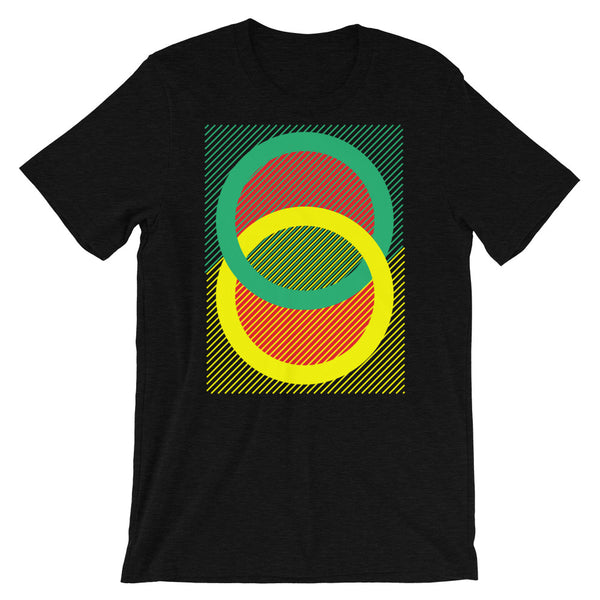 Green Yellow Rings Red Inner Unisex T-Shirt Abyssinian Kiosk Fashion Cotton Apparel Clothing Bella Canvas Original Art
