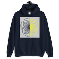 Half Blank Half Yellow Cube Spokes Grey BG Unisex Hoodie Abyssinian Kiosk Squares Bicycle Spokes Background Fashion Cotton Apparel Clothing Gildan Original Art