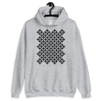 Black Solid Cross Pattern Unisex Hoodie Abyssinian Kiosk Equal-Armed Cross Ethiopian Coptic Orthodox Christian Gildan Original Art Fashion Cotton Apparel Clothing