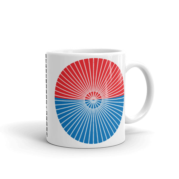 White Cube Spokes Red Top Blue Bottom Kaffa Mug