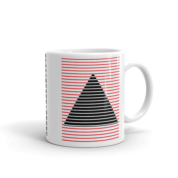 Red Black Lined Pyramid Kaffa Mug