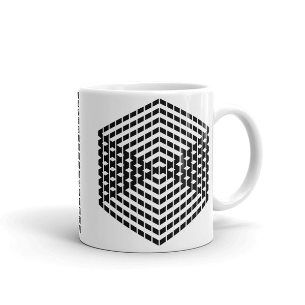 Black Cube Illusion Kaffa Mug