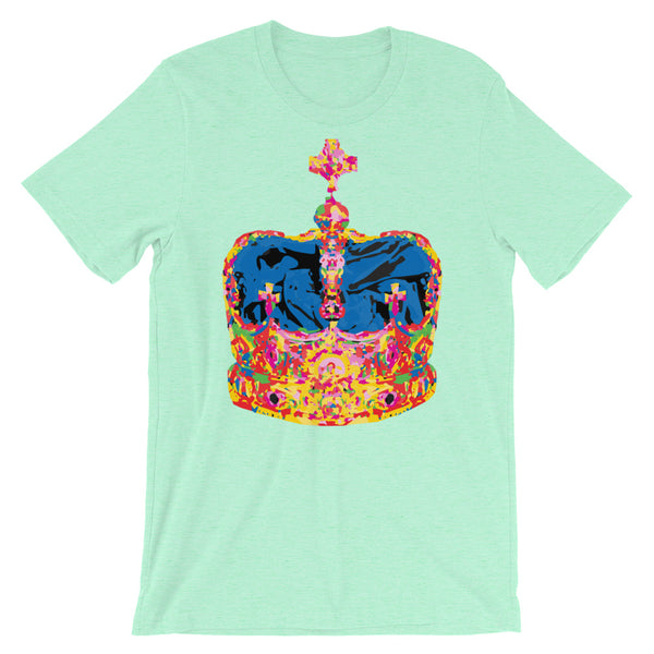 Funky Crown Blue Unisex T-Shirt Abyssinian Kiosk Empress Menen Crown Haile Selassie Colors African Royal Royalty Fashion Cotton Apparel Clothing Bella Canvas Original Art