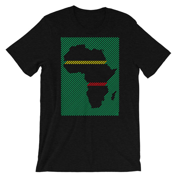 Africa Diagonal Lines GYR Unisex T-Shirt Abyssinian Kiosk Fashion Cotton Apparel Clothing Bella Canvas Original Art Green Yellow Red Ethiopia Ethiopian Flag