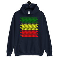 Slanted Green Yellow Red Unisex Hoodie Ethiopian Flag Abyssinian Kiosk Abyssinia Ethiopia Apparel Giland Clothing