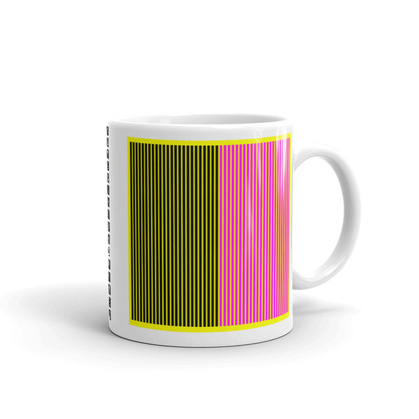 Yellow Back Black Magenta Lines Kaffa Mug