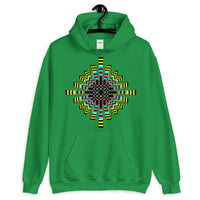 Psychedelic Waffle Cross Unisex Hoodie Trip Trippy Colorful Ethiopian Coptic Orthodox Abyssinian Kiosk Christian Gildan Original Art Abyssinian Kiosk Fashion Cotton Apparel Clothing