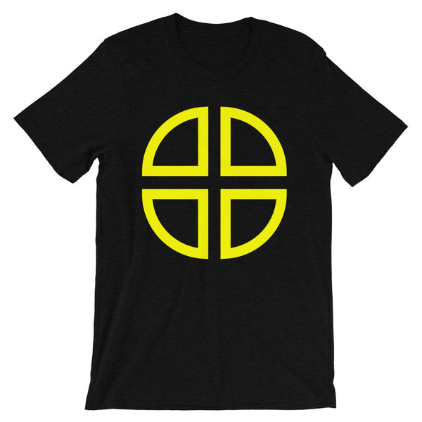 Between the Lines Cross Yellow Unisex T-Shirt Abyssinian Kiosk Ethiopian Coptic Orthodox Tewahedo Christian Bella Canvas Original Art Fashion Cotton Apparel Clothing