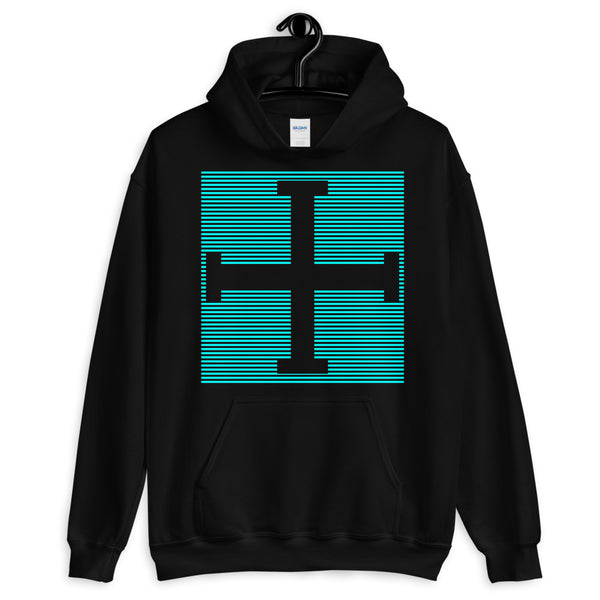 Cyan Lines Empty + Cross Unisex Hoodie Abyssinian Kiosk Equal Arm Cross Christian Lines Gildan Original Art Fashion Cotton Apparel Clothing