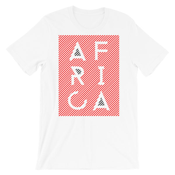 Africa Blank Letters Red Diagonals Unisex T-Shirt Abyssinian Kiosk Fashion Cotton Apparel Clothing Bella Canvas Original Art