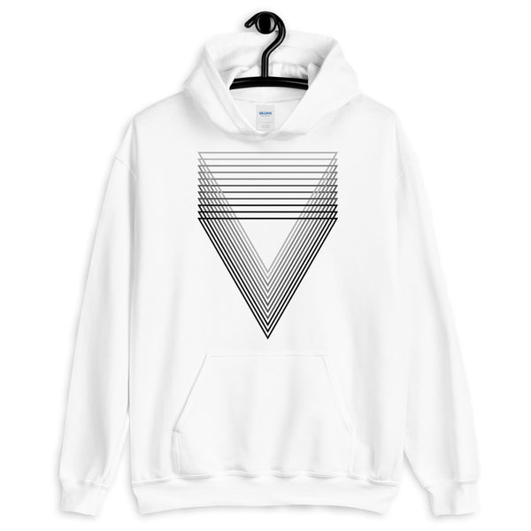 Black Chiaroscuro Triangles Unisex Hoodie From Light to Bold Color Abyssinian Kiosk Fashion Cotton Apparel Clothing Gildan Original Art