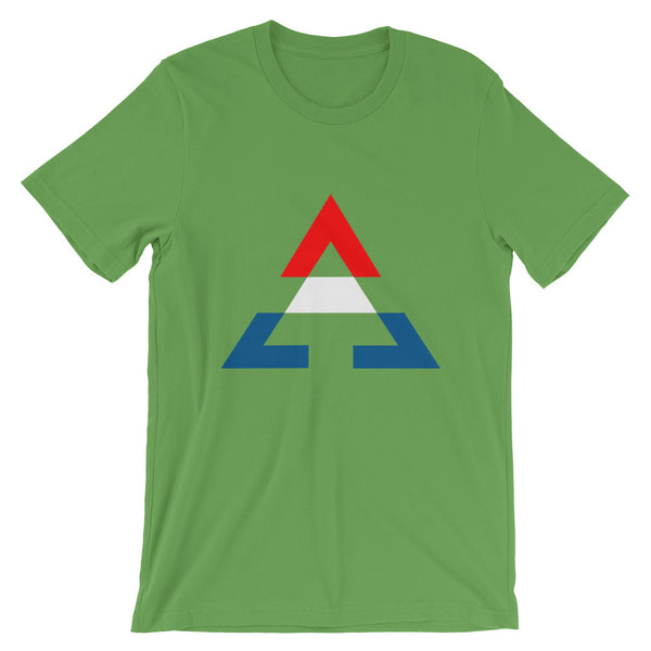 Pyramid RWB Unisex T-Shirt Bella Canvas Original Art Abyssinian Kiosk Fashion Cotton Apparel Clothing Triangle RWB Red White Blue America American Flag