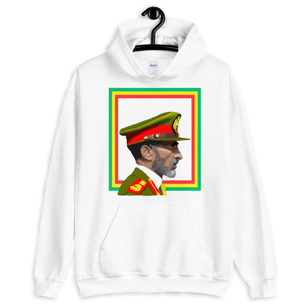 Haile Selassie Color Profile GYR Frame Unisex Hoodie Abyssinian Kiosk Emperor Rasta Rastafari Green Yellow Red Ethiopian Flag Ethiopia Africa African Abyssinia Habesha History Military Uniform Art Portrait Vintage Reggae Gildan Original Art Fashion Cotton Apparel Clothing