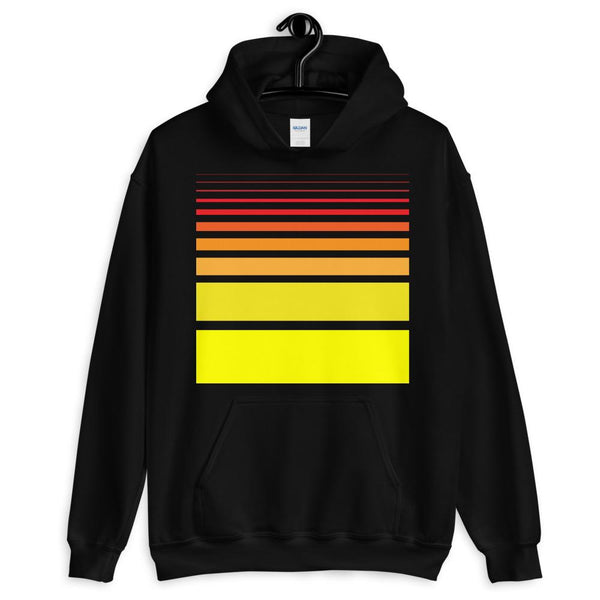 Red to Yellow Unisex Hoodie Bars and Lines Orange Abyssinian Kiosk Fashion Cotton Apparel Clothing Gildan Original Art