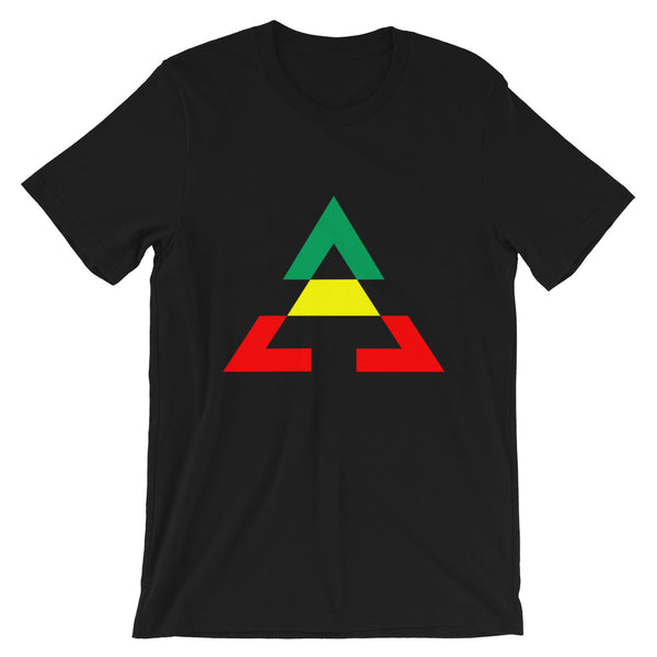 Pyramid GYR Unisex T-Shirt Pyramid RWB Unisex T-Shirt Bella Canvas Original Art Abyssinian Kiosk Fashion Cotton Apparel Clothing Triangle GYR Green Yellow Red Ethiopia Ethiopian Flag