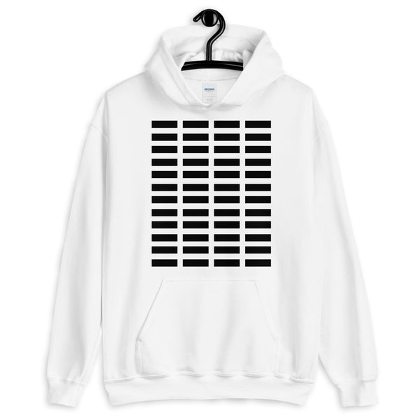 Black Grid Bars Unisex Hoodie Abyssinian Kiosk Rectangle Bars Spaced Evenly Grid Pattern Fashion Cotton Apparel Clothing Gildan Original Art