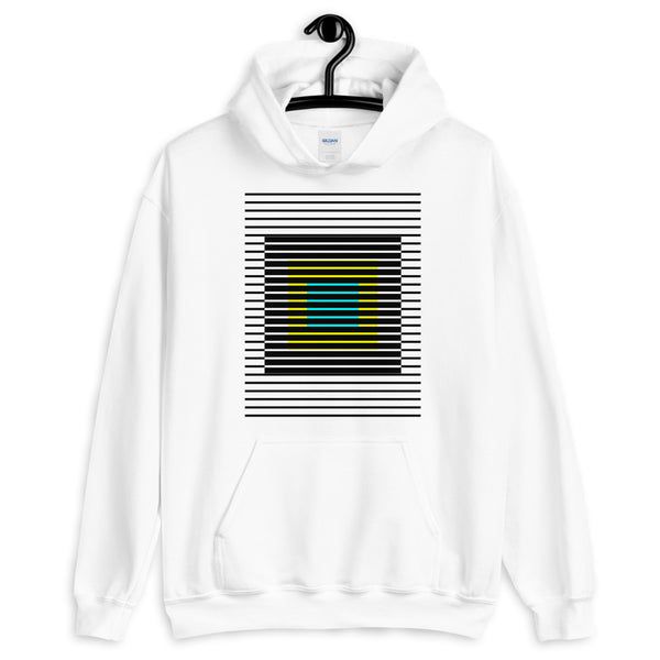 Black Stripes Yellow Cyan Squares Unisex Hoodie Squares Within Lines Abyssinian Kiosk Fashion Cotton Apparel Clothing Gildan Original Art