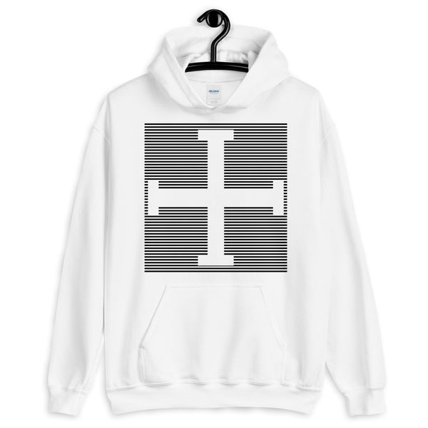 Black Lines Empty + Cross Unisex Hoodie Abyssinian Kiosk Equal Arm Cross Christian Lines Gildan Original Art Fashion Cotton Apparel Clothing