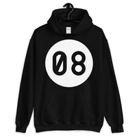 Blank 08 White Circle Unisex Hoodie Zero Eight in a White Circle Abyssinian Kiosk Fashion Cotton Apparel Clothing Gildan Original Art