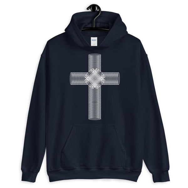 White Ellipse Cross Unisex Hoodie Abyssinian Kiosk Christian Jesus Religion Cross Gildan Original Art Fashion Cotton Apparel Clothing