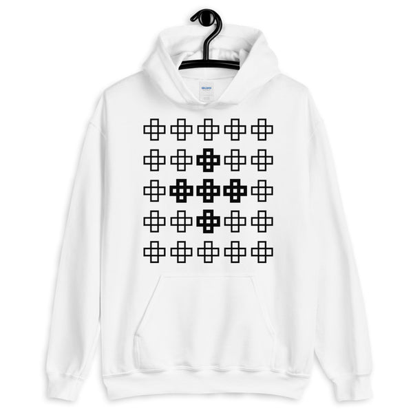 Black Cross in Crosses Unisex Hoodie Abyssinian Kiosk Christian Jesus Religion Equal Armed Squares Cross Gildan Original Art Fashion Cotton Apparel Clothing