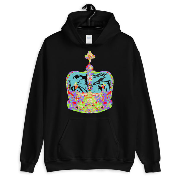 Funky Crown Light Blue Unisex Hoodie Abyssinian Kiosk Empress Menen Crown Haile Selassie Colors African Royal Royalty Fashion Cotton Apparel Clothing Gildan Original Art