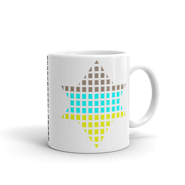Brown, Cyan, Yellow Lime Boxes Star of David Kaffa Mug