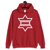 White Outline Star of David Unisex Hoodie Abyssinian Kiosk Jewish Falasha Ethiopian Apparel Gildan Clothing