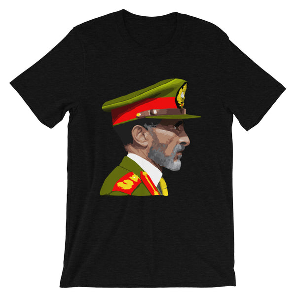 Haile Selassie Color Profile Unisex T-Shirt Abyssinian Kiosk Emperor Rasta Rastafari Green Yellow Red Ethiopian Flag Ethiopia Africa African Abyssinia Habesha History Military Uniform Art Portrait Vintage Reggae Bella Canvas Original Art Fashion Cotton Apparel Clothing