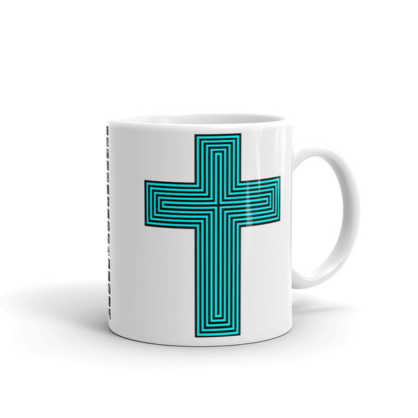 Cyan & Black Maze Cross Kaffa Mug