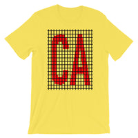 Red Black Grid CA Unisex T-Shirt Bella Canvas Original Art Abyssinian Kiosk Fashion Cotton Apparel Clothing California State America US